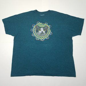 Other - HYPNOTIC Kitty T-Shirt   XXL Teal Cotton Blend